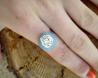 "Ring: ""The Blue Rose"" ,Rose Button Ring, Blue Button Ring, Button Ring, Rose Ring, Tarnish Resistant Ring, Silver Ring, Wire Wrapped Ring"