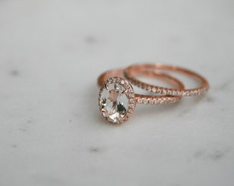 Oval Morganite Diamond, Halo Engagement Ring, Rose Gold Band, Wedding set,  Morganite Wedding set, Diamond, Rose Gold, Halo Diamond
