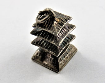 Three Story Oriental Pagoda House Sterling Silver Charm or Pendant.
