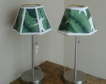 hand sewn Banana leaf fabric covered hexagon lamp shade pair, hand sewn, lined, gold white trim