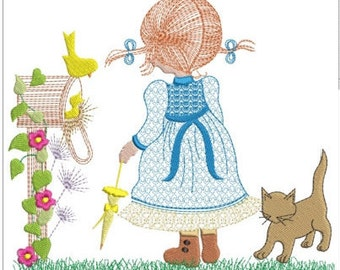 "Holly hobbie at letterbox with cat machine embroidery download 5 different sizes (3.4 X3.4    4x4  5x5  6x6  7x7"")"