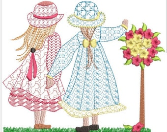 Sarah kay friends in park machine embroidery download 3 different sizes ( 5 x5 6X6  7X6)