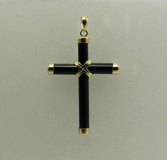 Black Onyx Cross Pendant 14k Yellow Gold