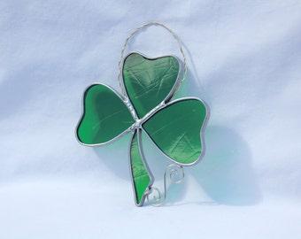 Stained Glass Shamrock Suncatcher - St Patrick's Day - Irish - Three Leaf Clover - Shamrock Suncatcher - Stained Glass Shamrock