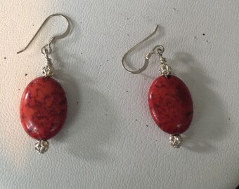 Custom Made Sterling Silver Red and Black Bead Earrings - AB