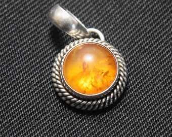 Artie Yellowhorse Navajo Sterling Silver and Amber Pendant