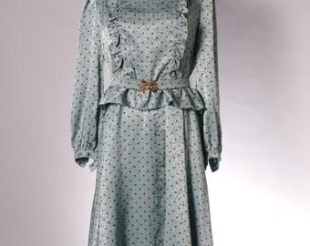 Vintage mint green polka dot ruffle dress with belt