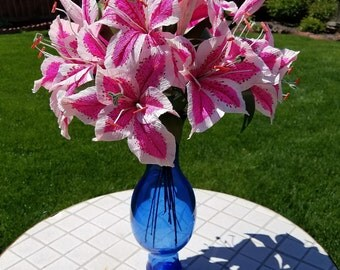 Pink Stargazer Lily/Crepe paper Flower/Handpainted