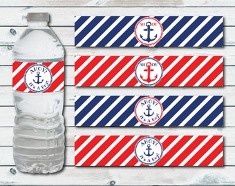 Nautical Water Bottle Labels, Printable Nautical Baby Shower Water Bottle Labels, Ahoy It's A Boy Bottle Label, Anchor Baby Shower Favors