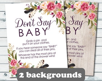 Donu0027t Say Baby Boho Floral Baby Shower Game Sign, Floral Donu0027t