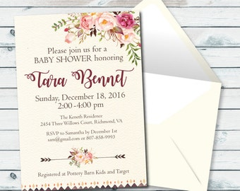 Boho Baby Shower Invite, Baby Shower Printable Invitations, Floral Baby Shower Invite, Gender Neutral Invitations, Feathers And Flowers