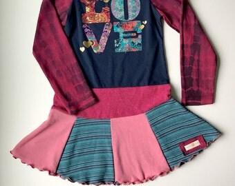 love dress, girls upcycled dress, size 2, size 3, girls valentines dress, twirl dress, girls twirly dress, knit dress girls,