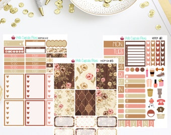 HCP124 Brown Shabby Chic Weekly Set (3 Pages)
