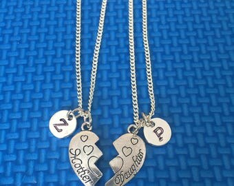Mother Daughter intial necklace ,Jewelry, Silver Jewelry, mother daughter charm chain jewelry,  CP45