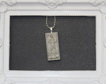 Concrete SOLO in CARBONITE  Pendant Silver Necklace