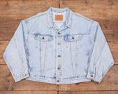 Mens Vintage Levis Red Tab Denim Trucker Jacket Blue Levi Strauss XL 50 R5342