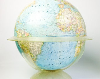 "Extra Large 20"" Vintage National Geographic Globe in Lucite Stand"