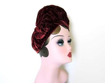 Vintage Silk Velvet Bronze Halo Turban~ Circa 1930's/40's