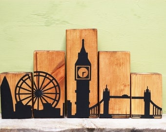 Wooden Candle Holder, London Landscape Candles, London Skyline, London Candle, Big Ben Candle, Wooden Block Candles, Tower Bridge London Eye