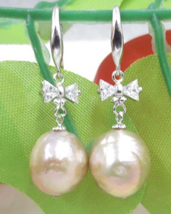 Beautiful sterling silver 13mm copper pink Kasumi pearl earrings