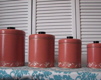 RANSBURG GENUINE 1930'S Handpainted canister set made in Indianapolis U.S.A