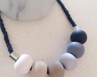 Neutral Gradient Polymer Clay Necklace
