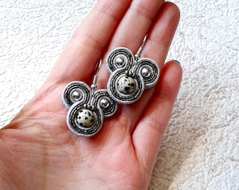 Soutache Earrings gray colors- Soutache earrings  -  Handmade Earrings. Gray earrings. Small earrings. Jasper
