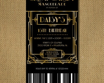 PRINTABLE |  Great Gatsby Birthday Invitation