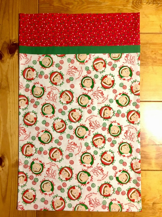 Handmade childrens christmas pillowcase featuring licensed elf for Unique childrens fabric