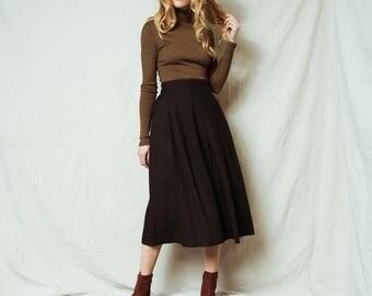 Rad Vintage Black Linen Skirt / S / 90s hipster gathered boho hippie festival midi pleated skirt