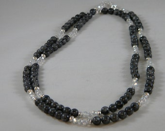 OOAK Larvikite and Crystal Long Beaded Necklace