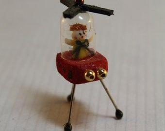 Dollhouse Miniature Handmade Helicopter Toy (1/12 Scale)