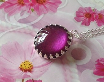 Shimmering Purple Necklace, Glittering Violet Pendant, Handmade Jewellery