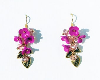 Fuchsia Dangle Earrings Jewelry flower polymer clay Earrings gold leaf Jewelry fuchsia Flowers polymer clay Earrings bridesmaid Gift for her