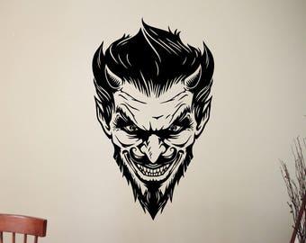 Scary Demon Face Vinyl Sticker Satanic Devil Decal Halloween Mythical Home Interior Decorations Horror Art Living Room Monster Decor 5dvl
