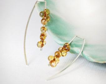Sterling Silver Earrings, Saffron Gold Earrings, Glass + Silver Earrings, Open Hoop Earrings, Beaded Threader Earrings, Bridesmaid Earrings