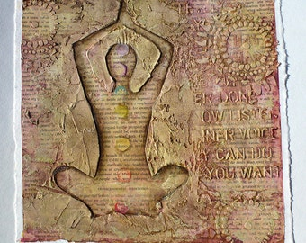 Original Mixed Media Painting, Yoga Art, Yoga Painting, Inspirational Art, Textured Plaster Art, Mixed Media Art, Collage Art, Yoga Art