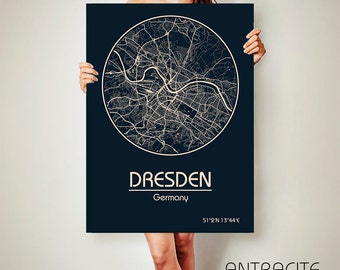 DRESDEN Germany CANVAS Map Dresden Germany Poster City Map Dresden Germany Art Print Dresden  poster Dresden  map art Poster Dresden map