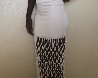 Highwaisted Hand Knotted Net Maxi Skirt