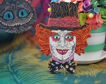 Mad Hatter brooch, polymer clay Mad Hatter, Tim Burton's Mad Hatter, Mad Hatter jewelry, Alice in Wonderland