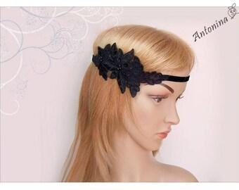 Hair band Black Lace headband boho hippie