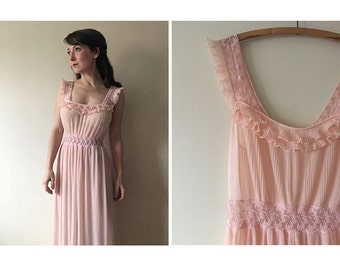 Dreamy Pink Nightgown | 60s negligee | vintage 1960s nightgown