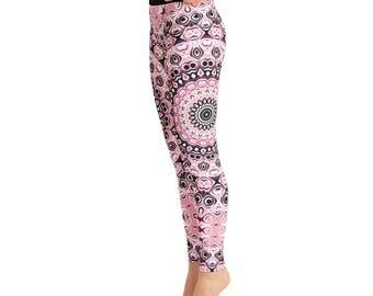 Printed Leggings Pants - High Waist Yoga Leggings, Mandala Leggings in Pink and Black, Yoga Pants Women's Clothing