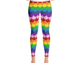 Rainbow Leggings - Mermaid Leggings Women, Bright Leggings, Multicolor Yoga Pants, Dragon Scales, Fish Scales Tights