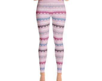 Striped Leggings - Valentines Day Leggings, Dot and Heart Leggings, Womens Valentines Day Outfit, Love Printed Tights