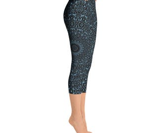Capris - Baby Blue Yoga Pants, Black Leggings with Blue Mandala Designs for Women, Printed Leggings, Pattern Yoga Tights