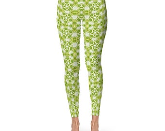 Yoga Workout Tights - Star Leggings, Green Printed Leggings, Ladies Yoga Pants, Yoga Leggings, Green and White Womens Stretch Pants