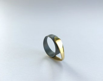 Arc / Ring / Handmade / Jewellery / Jewelry / Women's Gift Idea / Gold Plated / Oxidized / Silver 925 / Gift for Her / Easter Gift
