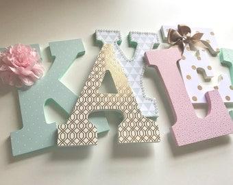 Mint green pink gold nursery letters, mint green girls nursery letters, baby girl nursery letters, gold girls nursery decor, kayleigh