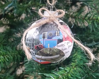 Thomas the Train book pages upcycled Christmas ornament, Train book ornament